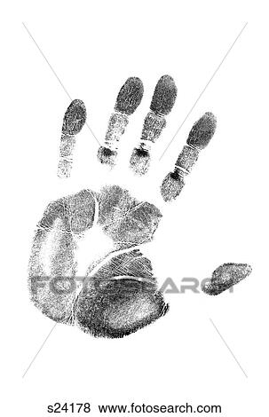 Pictures of 1980S Left Hand Palm Print On White Paper