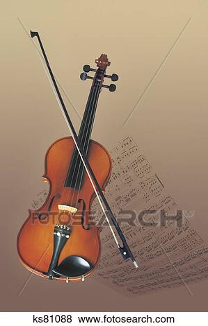 Violin and bow Stock Photo | ks81088 | Fotosearch