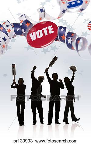 Supporters at political rally with patriotic ribbon and Vote pin Stock Image | pr130993 | Fotosearch