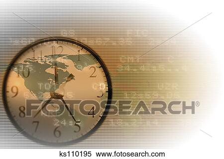 clock world map and