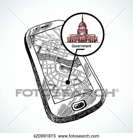 Croquis, dessiner, smartphone, à, carte Clipart