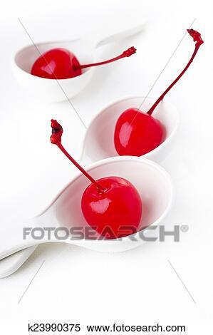 Maraschino cherry in spoon Stock Photography | k23990375 | Fotosearch