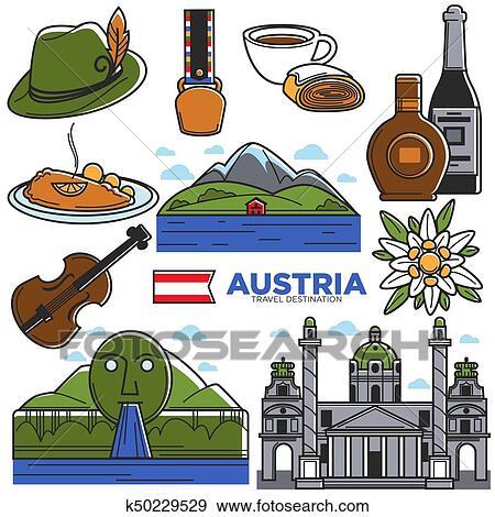 Clip Art of Austria tourism travel landmarks and famous