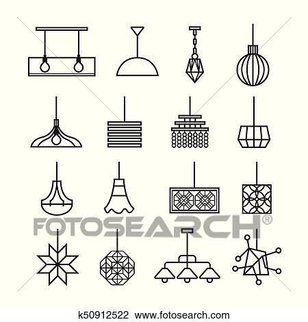 Hanging lamp vector. chandelier vector. decorate icon set Clipart   k50912522   Fotosearch