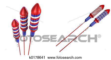 clipart of bottle rockets k0178641