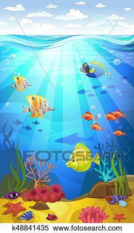 Fondo marino con coralli Clipart  k48841435  Fotosearch