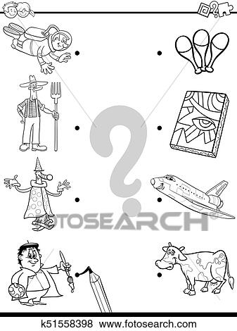 Match people and objects coloring book Clip Art