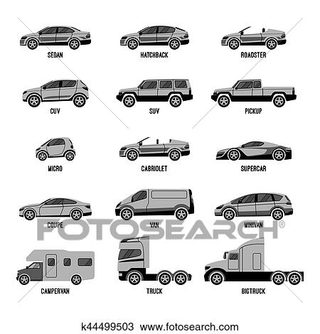 Automobile set isolated. Car models of different sizes or