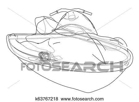 Jet ski sketch. 3d illustration Stock Illustration