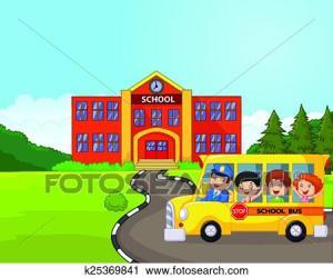 bus cartoon clipart front clip fotosearch fr vector illustration
