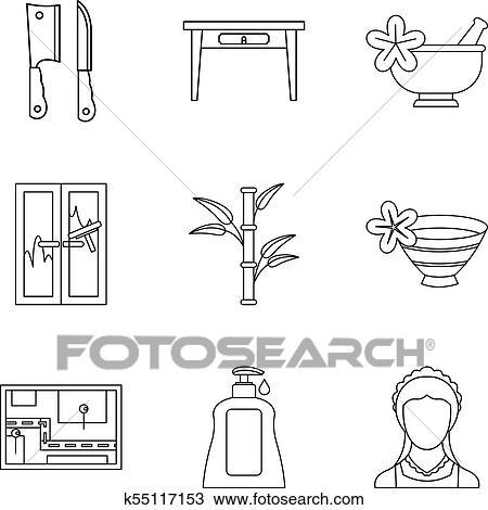 Hospitalité, gestion, icônes, ensemble, contour, style