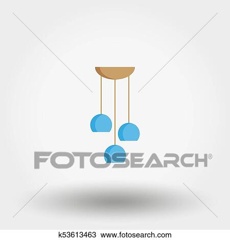 Chandelier. Ceiling lamp. Icon. Vector. Flat. Clipart   k53613463   Fotosearch