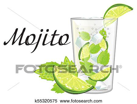 Mojito with mint and lime Stock Illustration | k55320575 | Fotosearch
