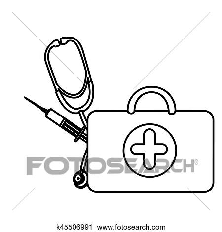 Silhouette suitcase health with stethoscope and syringe