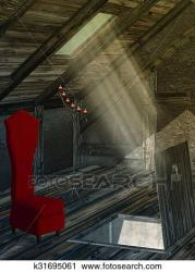 attic clipart clip spooky chair drawings fotosearch candle