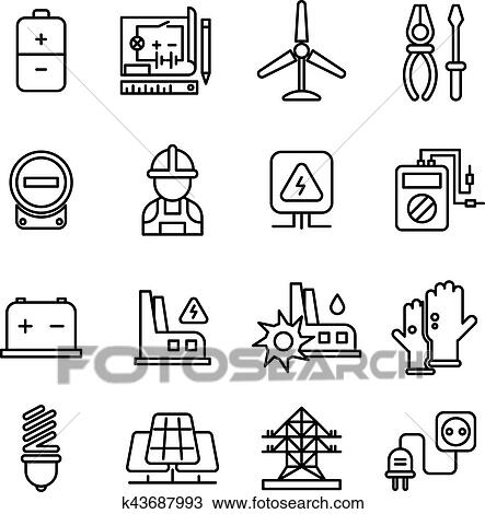 Electricity industry, electrical engineering vector line