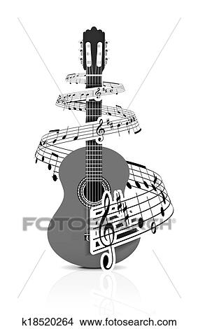Drawings of Music notes with guitar player k18520264