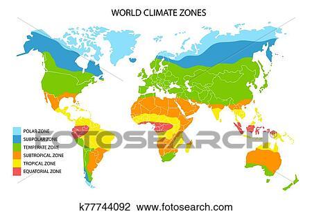 世界, 氣候, 區域, 地圖, 矢量, 地理, infographics 剪圖Clipart   k77744092   Fotosearch