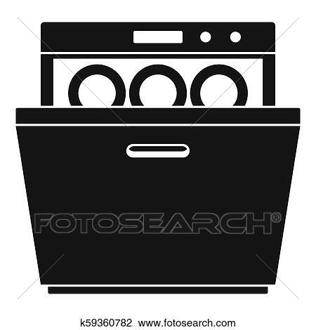 modern dishwasher icon simple