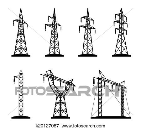 Clip Art of Electrical transmission tower types k20127087
