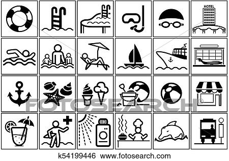 Summer Vacation Icon Collection Clip Art K54199446 Fotosearch