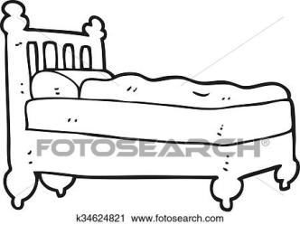 Black and white cartoon bed Clipart k34624821 Fotosearch