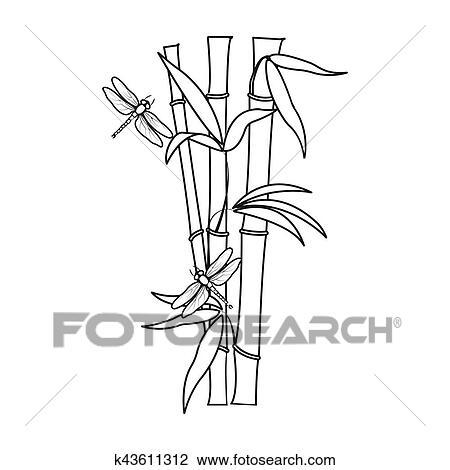 bambou icone dans contour style isole blanc arriere plan japon symbole stockage rastr illustration dessin