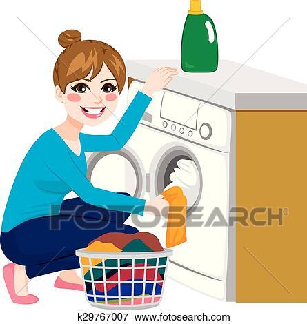Woman Doing Laundry Clip Art | k29767007 | Fotosearch