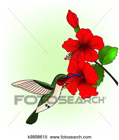 clipart of hummingbird with red
