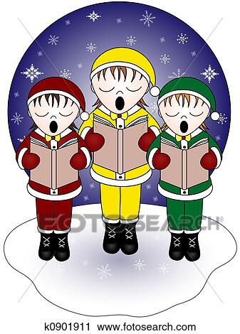 clipart of christmas carolers k0901911