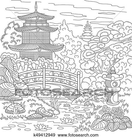 Zentangle stylized pagode Clipart  k49412949  Fotosearch