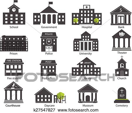 Clip Art of Black and white government buildings icons set