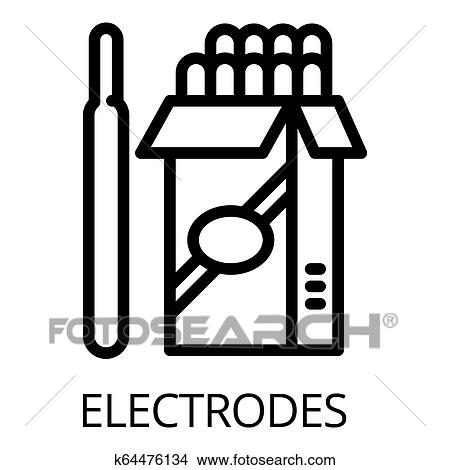 Electrode pack icon, outline style Stock Illustration