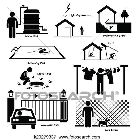 Clip Art of House Outdoor Infrastructure Icons k20279337