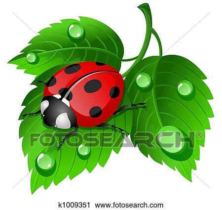 ladybug leaf clipart