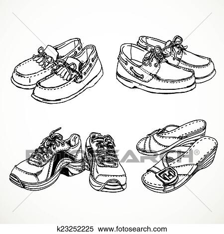 Clipart of Sketch of shoes for men and women moccasins