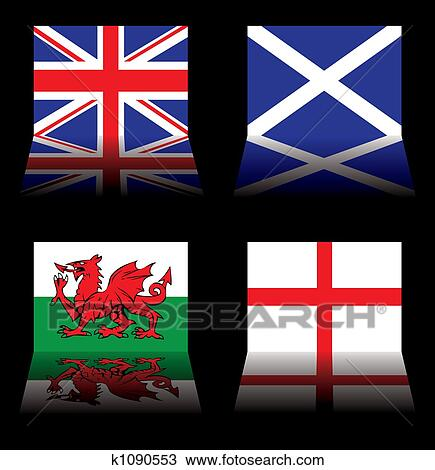 great britain flags drawing