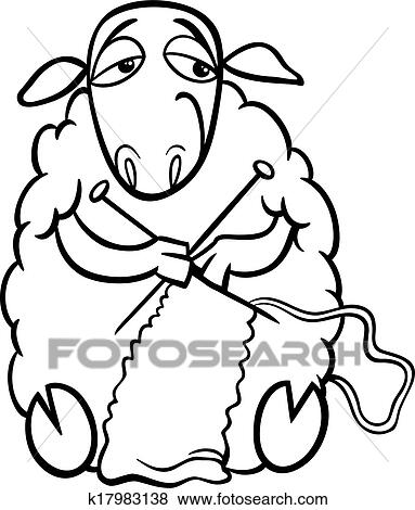 Clip Art of knitting sheep coloring page k17983138