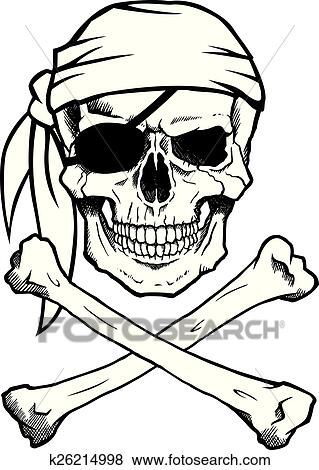 Clip Art of Jolly Roger pirate skull and crossbones