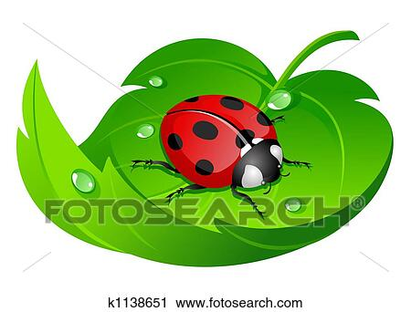 clipart of ladybug leaf k1138651