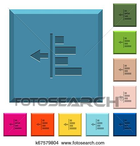 Decrease left indentation of content engraved icons on edged square buttons Clipart | k67579804 | Fotosearch