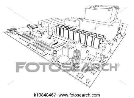 Stock Illustration of Motherboard. Wire frame render