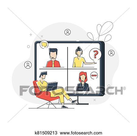 會議, ビデオ, 呼出し, リモート, プロジェクト管理, 検疫, 家 から 働くこと クリップアート(切り張り ...