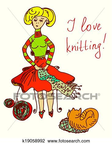 clipart of love knitting card