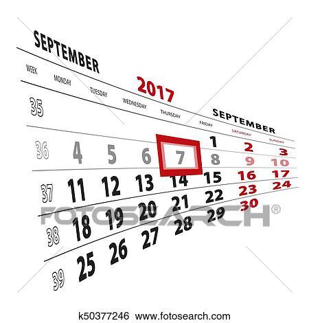 7 September highlighted on calendar 2017. Week starts from
