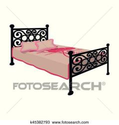 Bed with metal base Bed with pink bed and forged back Bed single icon in cartoon style vector symbol stock illustration Clipart k45382793 Fotosearch