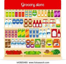 grocery clipart shelves clip fotosearch graphic ketchup fruits bottles pasta milk icons vector