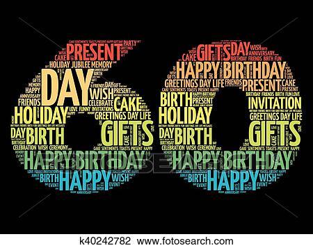 Happy 60th Birthday Word Cloud Clipart K40242782