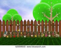 Drawing of Wooden fence on the backyard k25056033 - Search ...