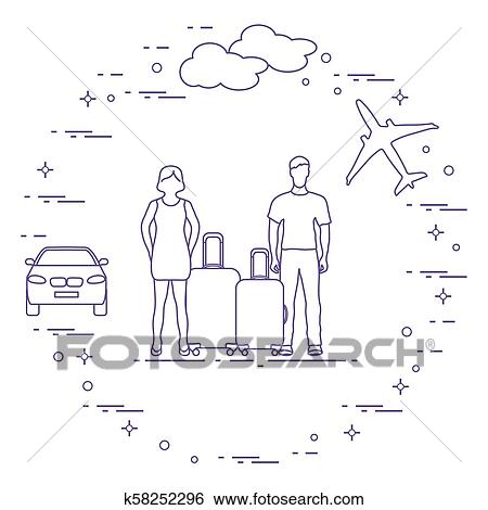 Homme femme, à, valises, avion, nuage, voiture. Clipart